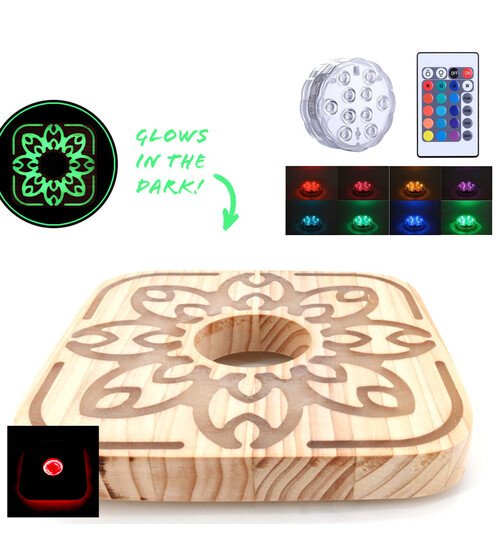 Cyborg Hookah - Wood Plate + 7CM LED Light with Remote Control Set
