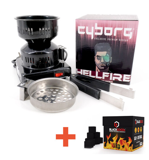 Cyborg Hookah Charcoal Lighter - Hellfire + 1KG Blackcocos