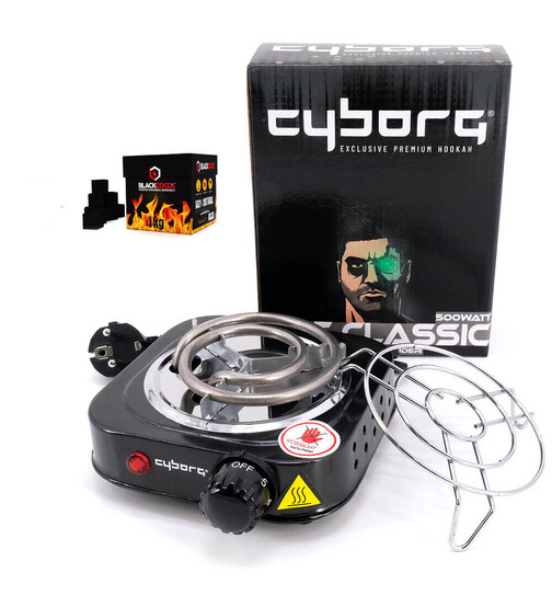 Cyborg Hookah Coal Shining Hot Classic including coal grid - 500w + 1KG Blackcocos